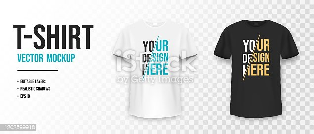 Black and white t-shirt mockup. Mockup of realistic shirt with short sleeves. Blank t-shirt template with empty space for design. Vector