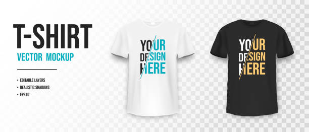 ilustrações de stock, clip art, desenhos animados e ícones de black and white t-shirt mockup. mockup of realistic shirt with short sleeves. blank t-shirt template with empty space for design - teeshirt template