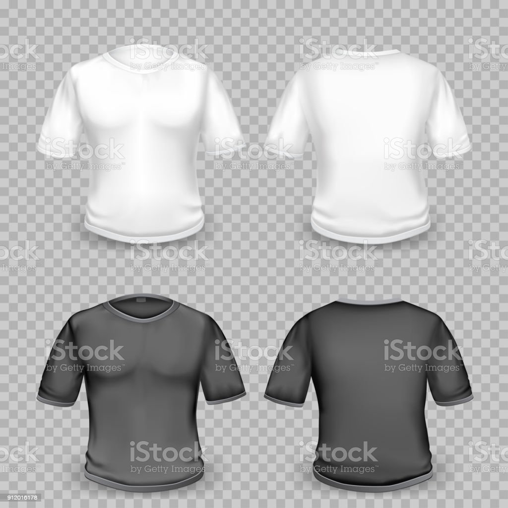 Black And White Tshirt Template Stock Vector Art More Images Of