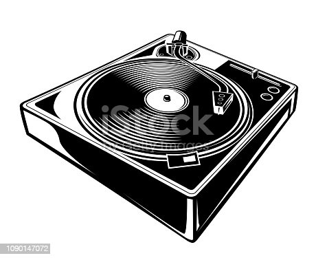 istock Black and white turntable icon 1090147072