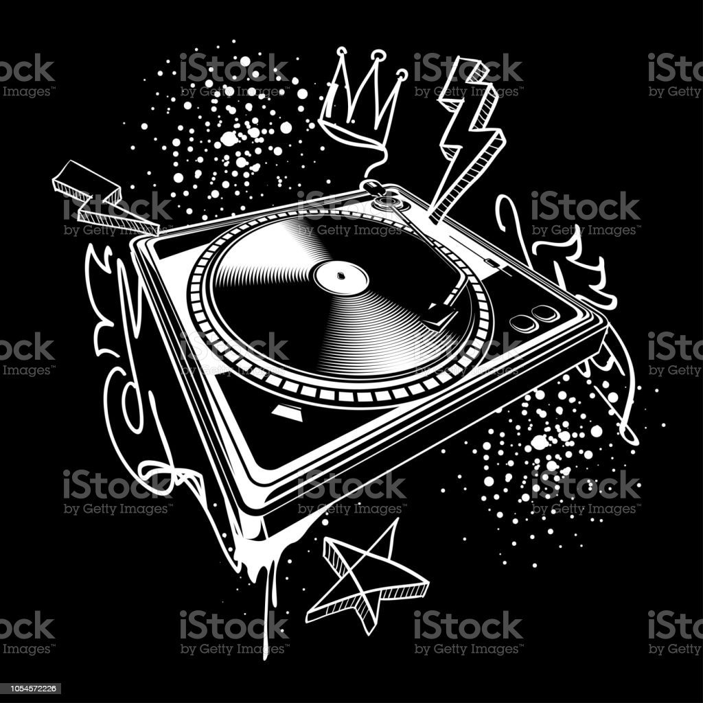 Black and white turntable on graffiti background royalty free black and white turntable on graffiti