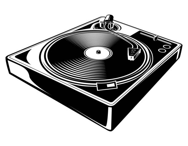 black and white turntable - record analog audio stock illustrations