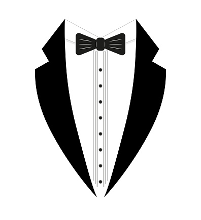 Black and white tuxedo with a bow tie. Logo template. Simple design element logo template. Flat style. Isolated on a white background. Vector