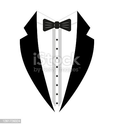 istock Black and white tuxedo with a bow tie. Logo template. Simple design element logo template. Flat style. Isolated on a white background. Vector 1261726324