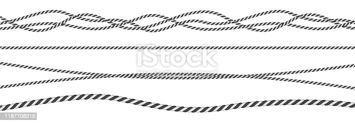 Black and white twisted and straight rope set. Modern vector design elements