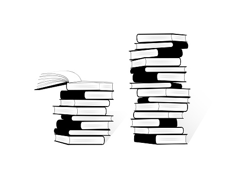 black and white two stacks of books isolated on the white background, horizontal vector illustration