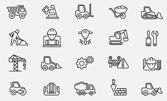 Black and white under construction icons stock illustration Construction Site, Construction Industry, Road Construction, Building , Road Work Ahead Sign
