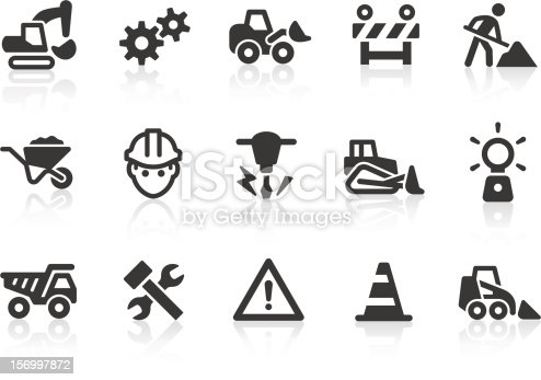Simple under construction and road work related vector icons for your design and application. Files included: vector EPS, JPG, PNG.