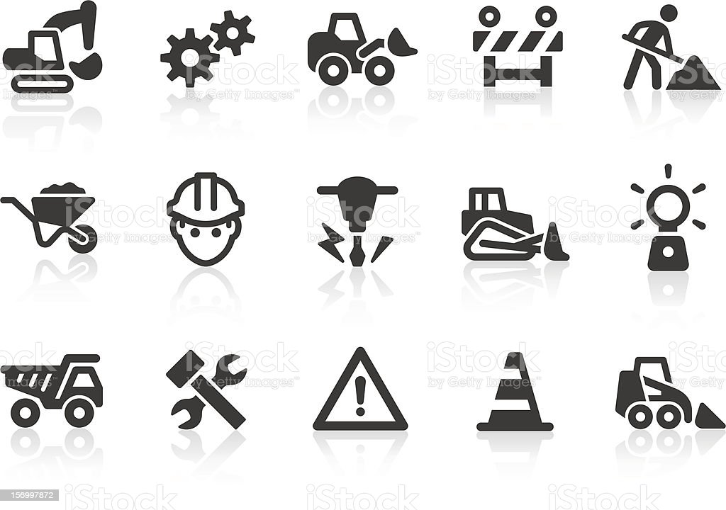 Black and white under construction icons vector art illustration
