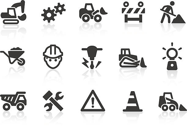 stockillustraties, clipart, cartoons en iconen met black and white under construction icons - kruiwagen