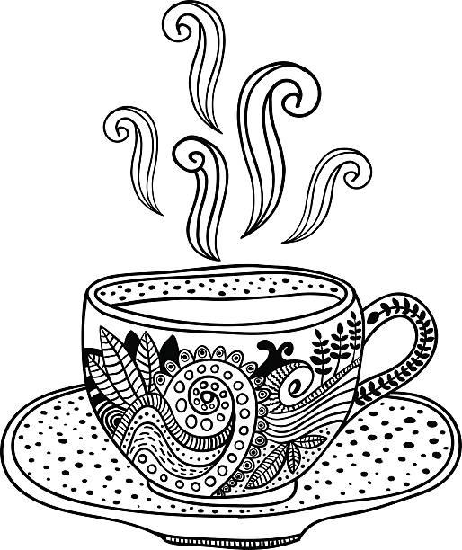 illustrazioni stock, clip art, cartoni animati e icone di tendenza di bianco e nero con elementi di progettazione floreale. - camellia sinensis