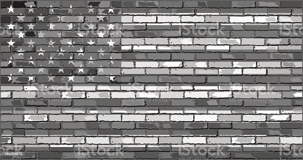 Black and white USA flag on a brick wall vector art illustration