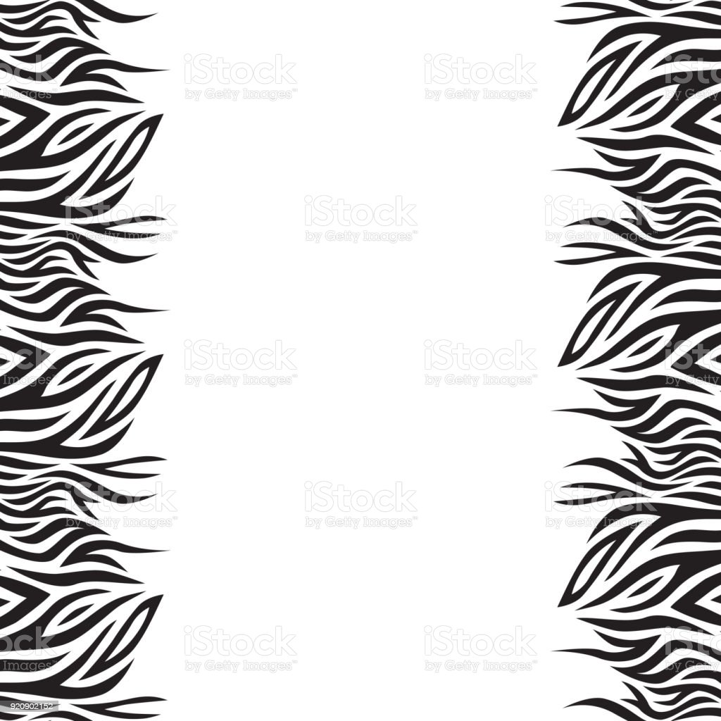Black and white vector background with stripes. Boho style. Frame of graphic leaves. vector art illustration