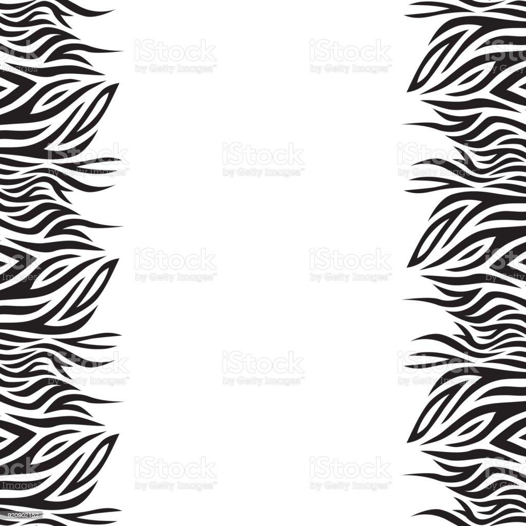 Fondo de vector blanco y negro con rayas. Estilo boho. Marco de hojas de gráfico. - ilustración de arte vectorial
