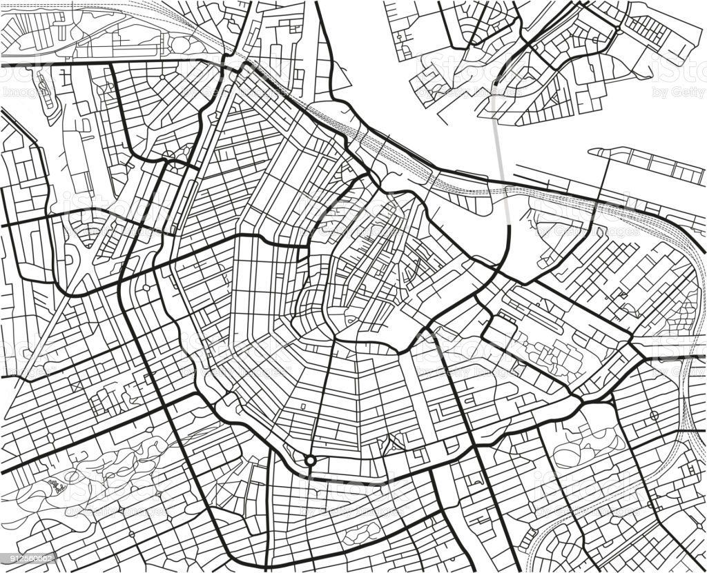 Black and white vector city map of Amsterdam with well organized separated layers. vector art illustration