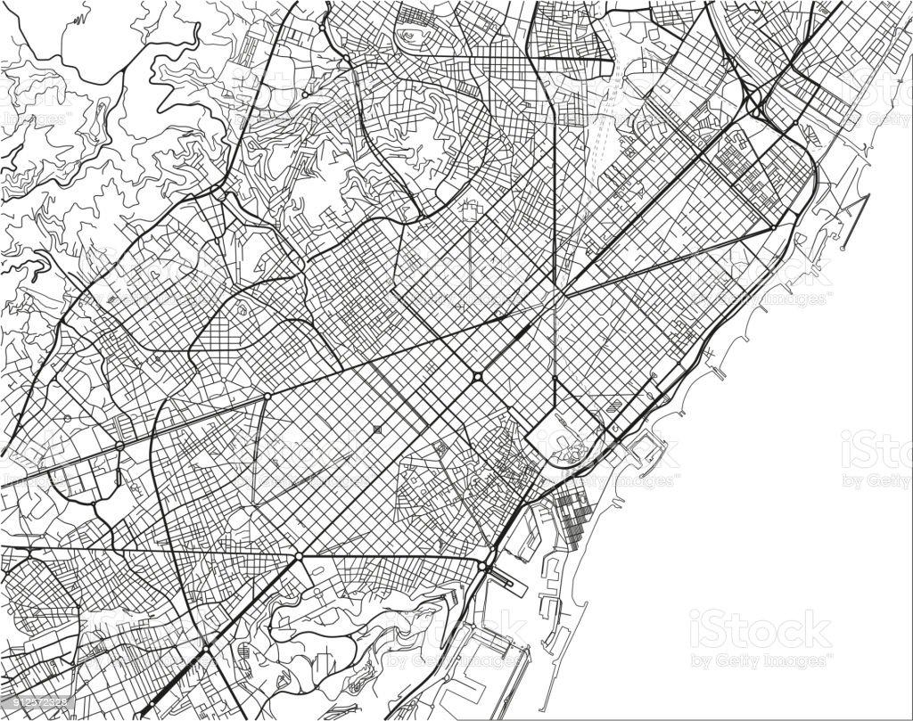 Blanco y negro vector mapa de la ciudad de Barcelona con capas separadas bien organizadas. - ilustración de arte vectorial