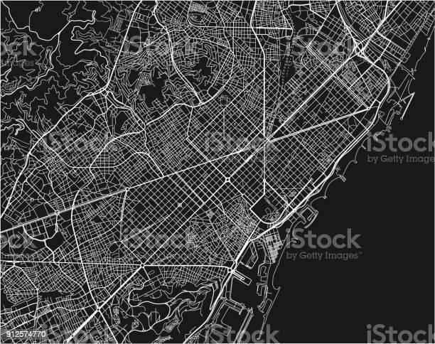 Vetores De Preto E Branco Vetor Mapa Da Cidade De Barcelona Com Camadas Separadas Bem Organizados E Mais Imagens De Antigo Istock