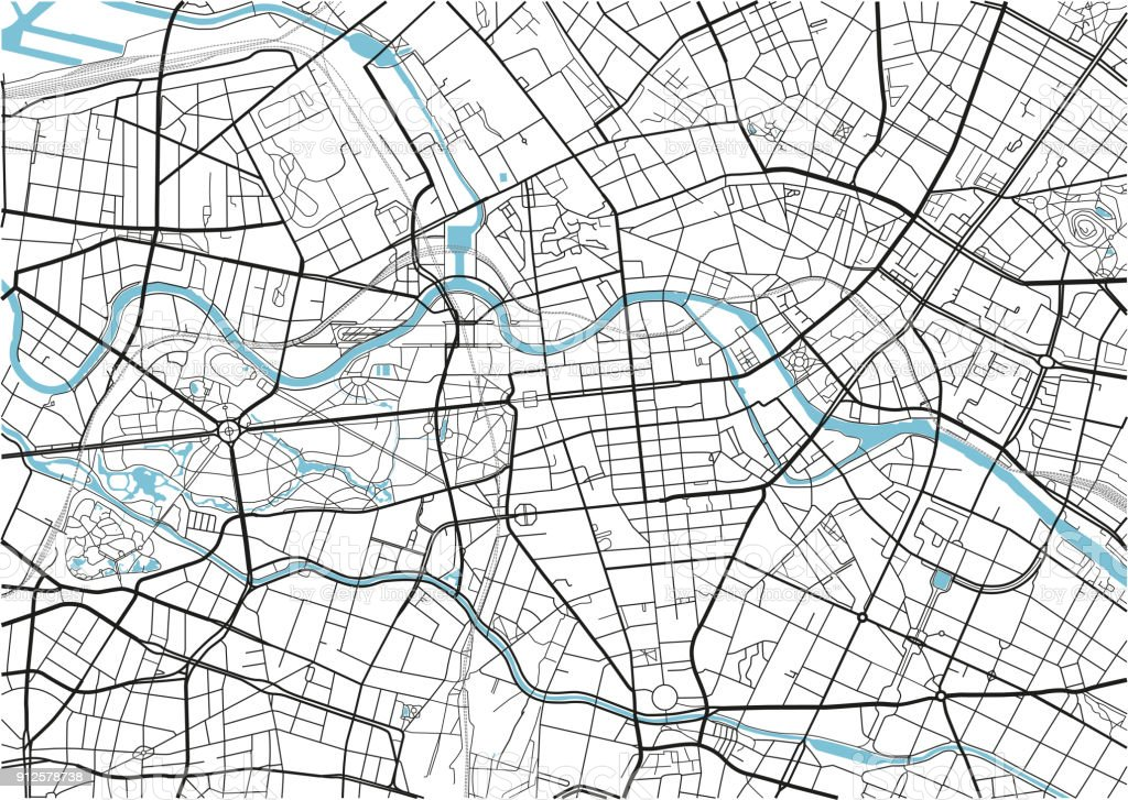Black and white vector city map of Berlin with well organized separated layers. vector art illustration