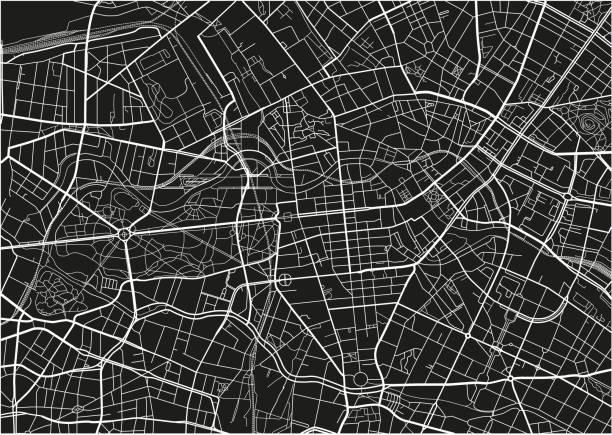 bildbanksillustrationer, clip art samt tecknat material och ikoner med svart och vit vektor stadskarta av berlin med välorganiserad åtskilda lager. - berlin street
