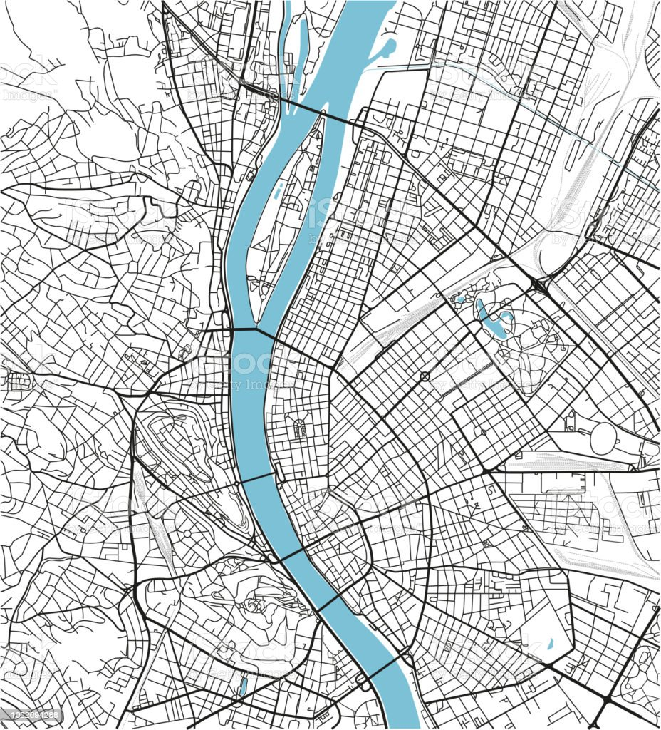 Black and white vector city map of Budapest with well organized separated layers. vector art illustration