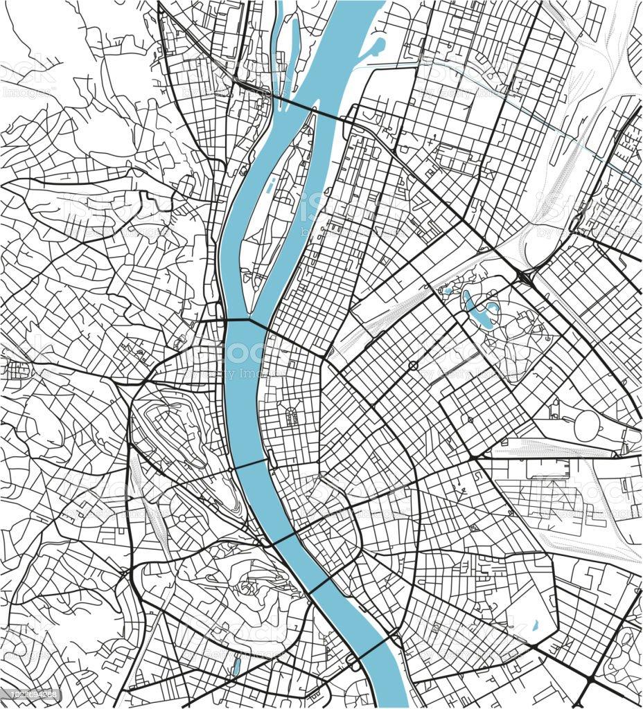 Schwarz / weiß Vektor Stadtplan der Innenstadt von Budapest mit gut organisierten getrennten Schichten. – Vektorgrafik