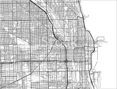 Black and white vector city map of Chicago.