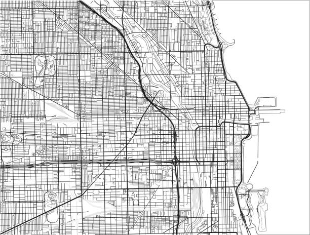 Black and white vector city map of Chicago. Black and white vector city map of Chicago with well organized separated layers. chicago stock illustrations