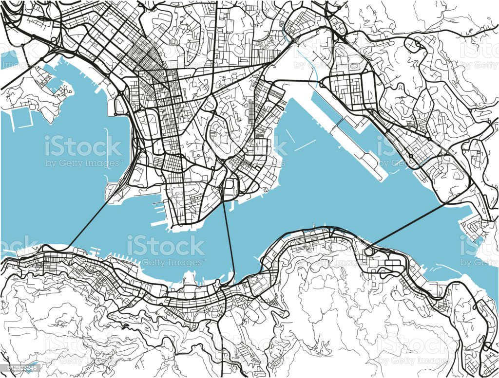 black and white vector city map of hong kong with well organized separated layers royalty