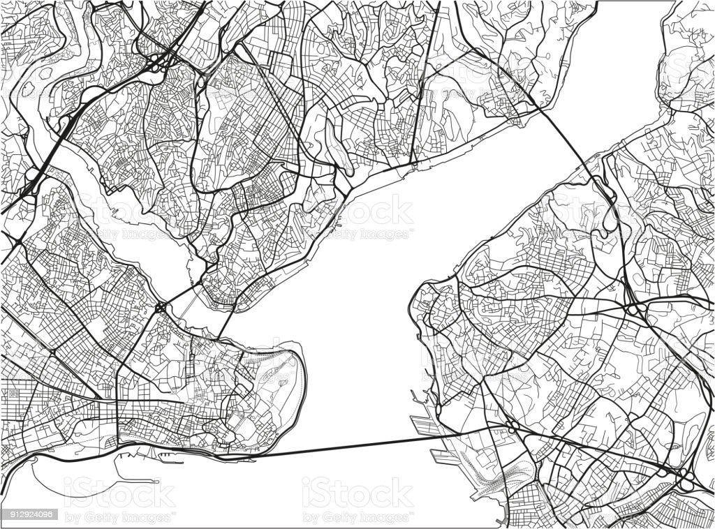 Schwarz Weiß Vektor Stadtplan Der Innenstadt Von Istanbul Mit Gut ...