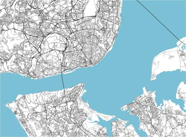 czarno-biała wektorowa mapa miasta lizbony z dobrze zorganizowanymi oddzielonymi warstwami. - lizbona stock illustrations