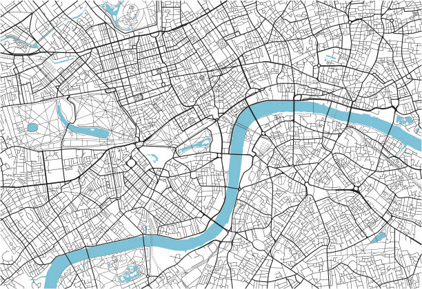 Black and white vector city map of London with well organized separated layers. Black and white vector city map of London with well organized separated layers. london stock illustrations