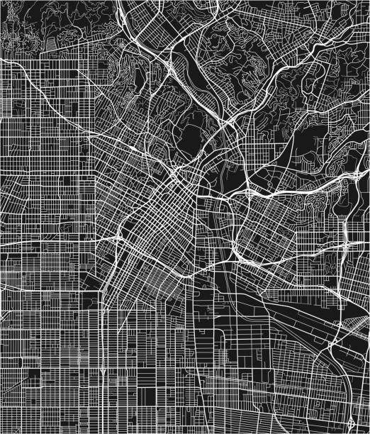 black and white vector city map of los angeles with well organized separated layers. - деловой центр города stock illustrations