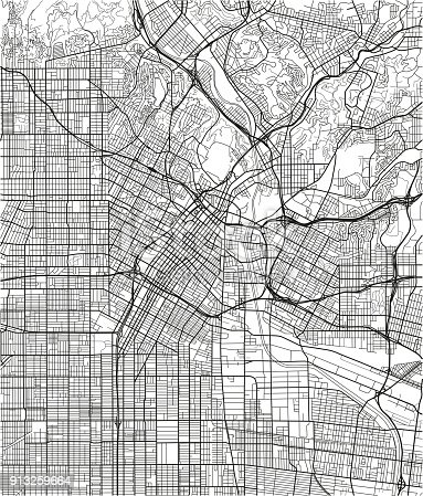 istock Black and white vector city map of Los Angeles with well organized separated layers. 913259664