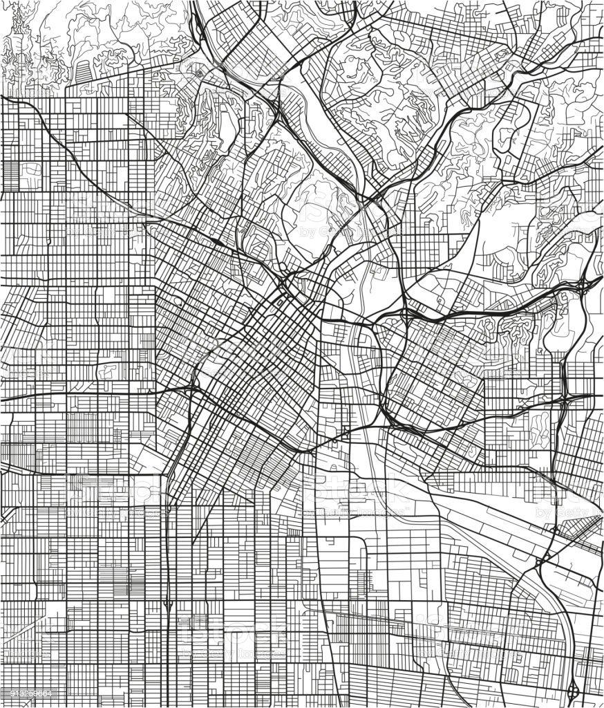 Blanco y negro vector mapa de la ciudad de Los Ángeles con capas separadas bien organizadas. - ilustración de arte vectorial