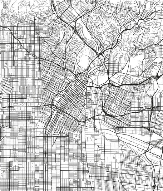 black and white vector city map of los angeles with well organized separated layers. - los angeles stock illustrations