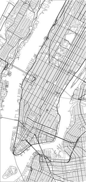 black and white vector city map of new york with well organized separated layers. - new york map stock illustrations, clip art, cartoons, & icons
