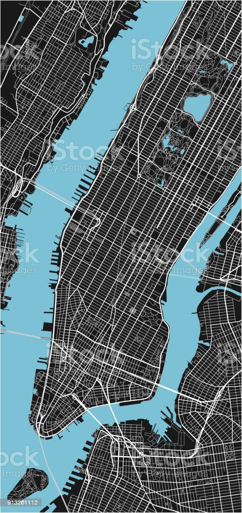 Black and white vector city map of New York with well organized separated layers. vector art illustration