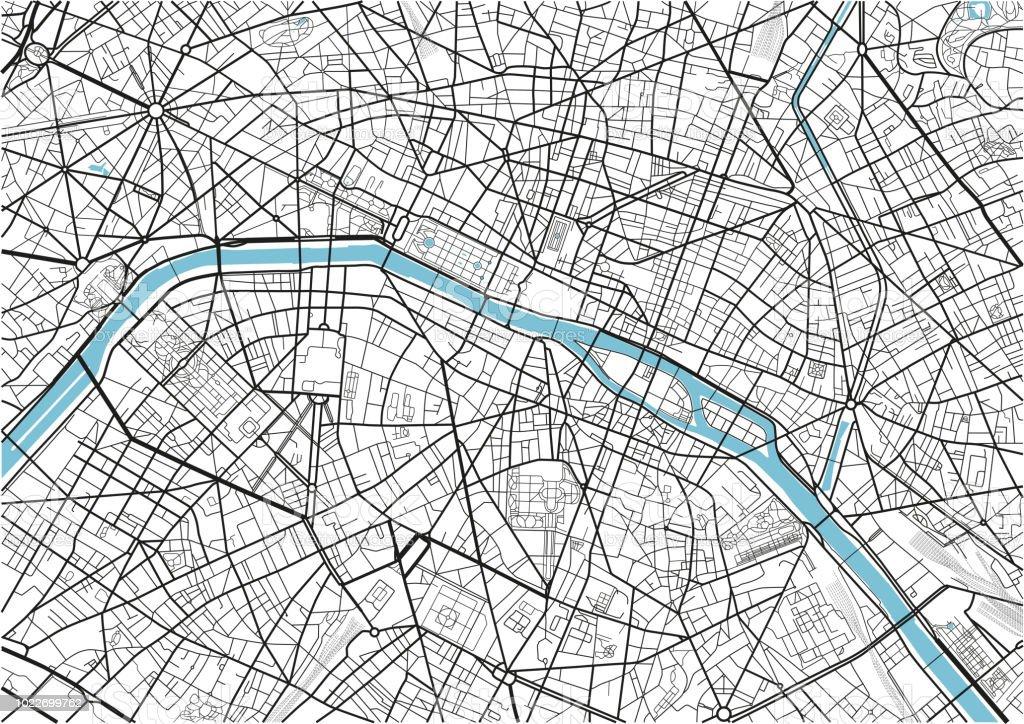 Karte Paris Stadtplan.Schwarz Weiß Vektor Stadtplan Von Paris Mit Gut Organisierten
