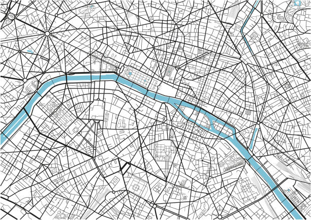 Black and white vector city map of Paris with well organized separated layers. Black and white vector city map of Paris with well organized separated layers. seine river stock illustrations