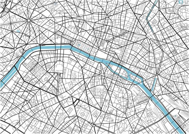 bildbanksillustrationer, clip art samt tecknat material och ikoner med svart och vit vektor city karta paris med välorganiserad åtskilda lager. - paris