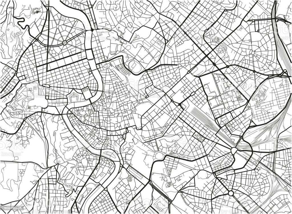 Black And White Vector City Map Of Rome With Well Organized ...