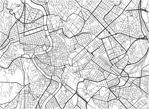 illustrations, cliparts, dessins animés et icônes de carte noir et blanc vecteur ville de rome avec des couches séparées bien organisés. - rome
