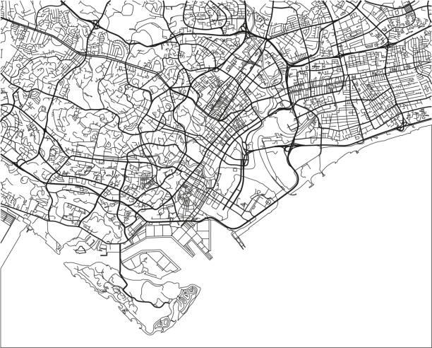 stockillustraties, clipart, cartoons en iconen met zwart-wit vector stadsplan van singapore met goed georganiseerde gescheiden lagen. - singapore