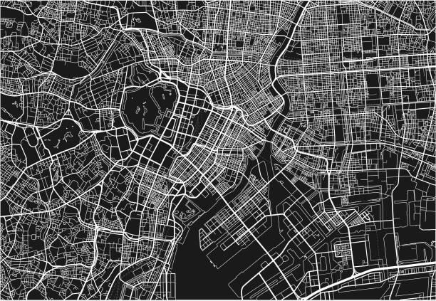 黒と白のベクトル都市地図東京のよく組織化された分離層を持つ。 - 東京点のイラスト素材/クリップアート素材/マンガ素材/アイコン素材