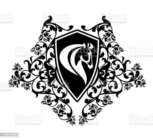 Black and white vector design of horse head floral heraldic shield vector id1191457687?b=1&k=6&m=1191457687&s=612x612&h=nkpwhurgzxtzzz67imdhg8uhftjk2zbafmlf8mnhz4k=