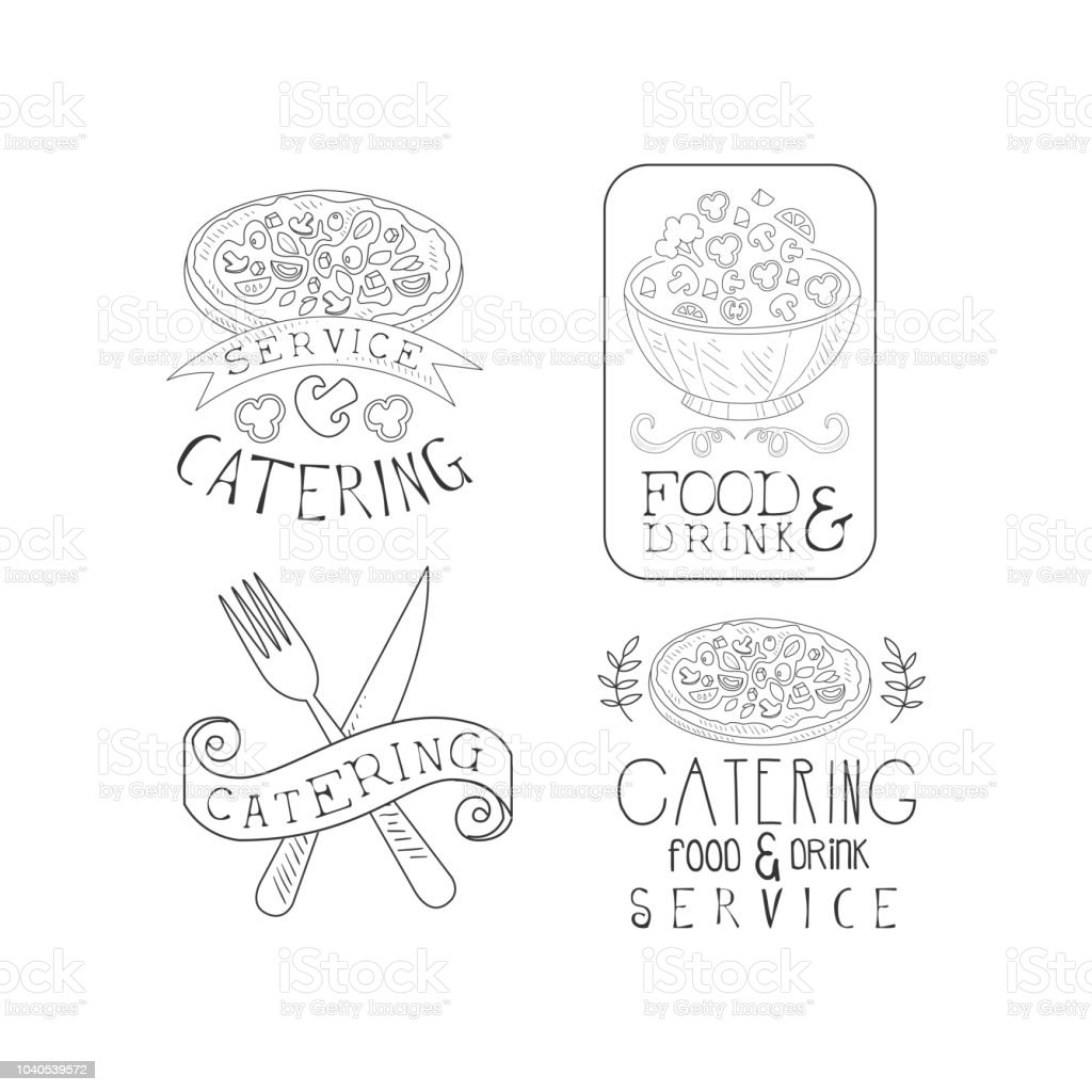 Schwarz Weißvektorembleme Für Professionelle Cateringunternehmen