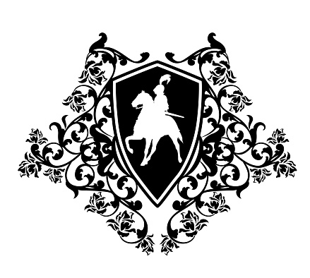 black and white vector heraldic emblem with knight riding horse and rose flowers