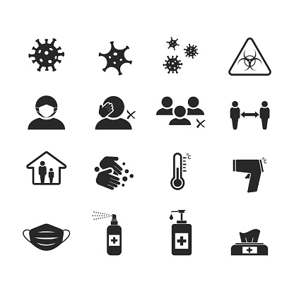 Black and white vector icon set for Covid-19