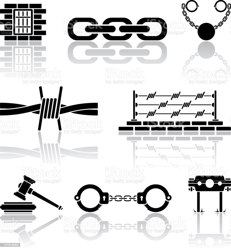 Black and white vector icons of crime and justice vector art illustration