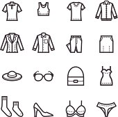 Black and white vector icons of women's clothes in a grid